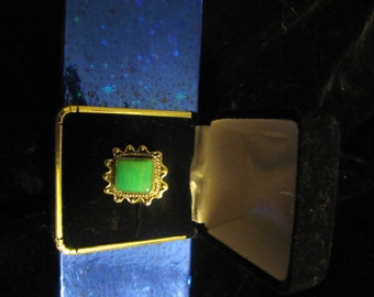 A real square Green  turquoise ring