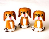 3 cute brown dog beads, lampwork glass, tan and white beagle mutts, floppy eared puppy beads, hound dogs