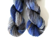 hand dyed yarn Cashmere handspun Cobalt worsted 2 ply knitting yarn Mallory blue, purple, gray