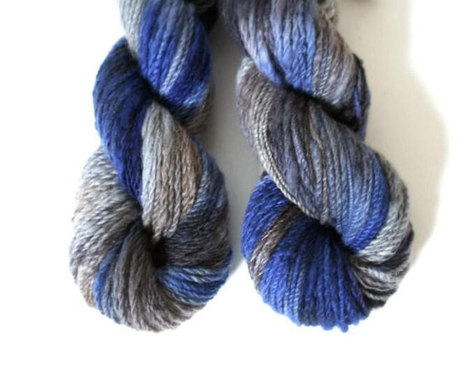 hand dyed yarn Cashmere handspun Cobalt worsted 2 ply knitting yarn Mallory blue, purple, gray