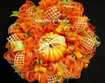 Fall Pumpkin Wreath, Fall Decor, Fall Door Wreath, Autumn Door Wreaths, Autumun Decor