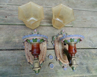Art Deco Wall Sconce. Art Deco Polychrome. Deco Wall Sconces. PAIR w/. Etched Glass Shades. RIDDLE Co. Edwardian Lighting. deco gift idea