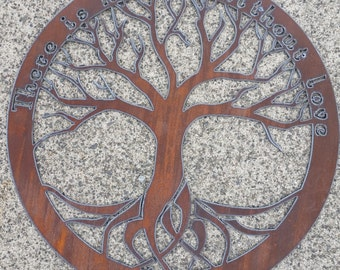 Custom Quote Rustic Tree of Life Recycled metal art 18 inch There Is No Life Without Love