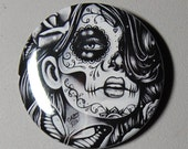 2.25 inch Pin Back Button - Epiphany - Day of the Dead Sugar Skull Girl Calavera Black and White Tattoo Flash Gothic Lolita Skeleton Pin
