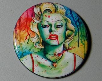 2.25 inch Pin Back Button - Marilyn Monroe Zombie Doll - Horror Portrait Undead Marilyn Monroe Lowbrow Illustration Pin