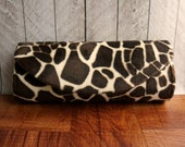 Giraffe clutch, Animal print clutch purse, brown clutch