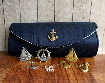 Navy blue silk nautical clutch, navy blue clutch purse, silk clutch, nautical wedding, bridesmaid bags, your choice of embellishment