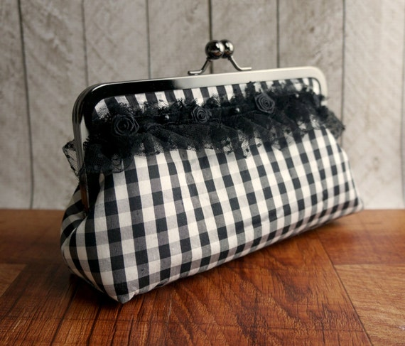Clearance. Gingham clutch with black lace and flower trim, french chic, Black and white clutch, Silk clutch purse