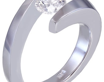 14K White Round Diamond Engagement Ring Tension Solitaire 1.00ctw h-vs2 EGL USA