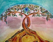 KETUBAH - Modern Ketubahs - Custom Ketubah - Jewish Marriage Contract - Jewish Judaica Art Print - Linked Trees