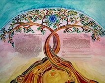 KETUBAH - Modern Ketubahs - Custom Ketubah - Jewish Marriage Contract - Jewish Judaica Art Print - Linked Trees