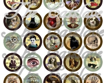 """Gothic Magnets, Gothic Pins, Gothic Wedding Favors, Gothic Cabochons, 1"""" Flat, Hollow Bk, Cabs, 12 ct"""