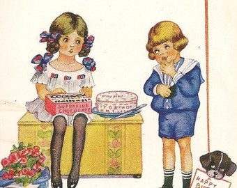Young Boy Brings Cake Chocolates and Flowers to Pretty Young Girl - Vintage Birthday Postcard – Artist Signed Isabel Hudson