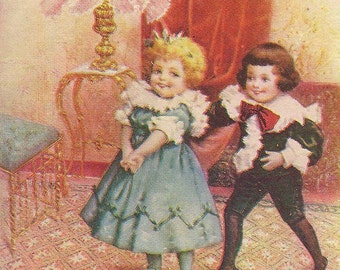 Playful Victorian Children in Parlor Longfellow Quote From Children Poem Unused Vintage Postcard