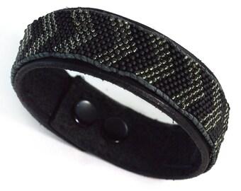 Mens Black Leather Bracelet - Chevron - Mens Bracelet - Snap On