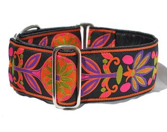 Martingale Collar or Buckle Dog Collar - Pinwheel Jaquard in Orange & Black - 2 Inch, Greyhound Collar, Great Dane Collar, Custom Dog Collar
