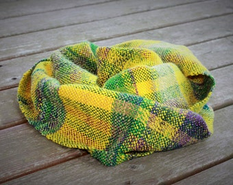 Handwoven Shawl - Art yarn scarf - Handspun wool silk yarn - Multicoloured - Unisex - Scarve - Mother's day gift, Easter gift