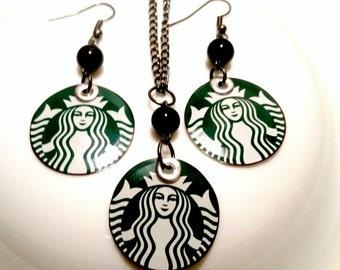 SALE Starbucks Earrings Necklace Set ELLE Magazine Feature Celebrity Earrings Jewelry  Trending Now Women Gift Eco Friendly Sale Jewelry