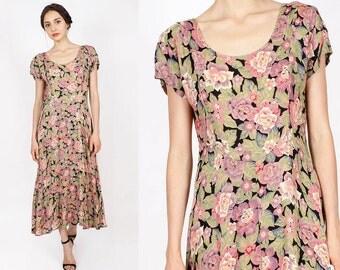 90s Tea Dress S/M • Black Floral Maxi Dress • Mauve Dress | D278