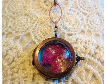 Copper glass locket with raspberry moss inside