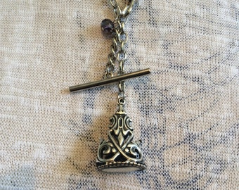 Vintage inspired fob and t-bar necklace with crystal accent