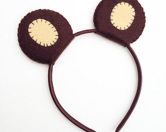 Wool Felt Bear Ears Headband