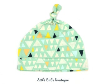 Top Knot Jersey Knit Baby Hat, Knotted Knit Beanie, Baby Gifts, Baby Hats, Newborn Gift Triangles on Sage Green