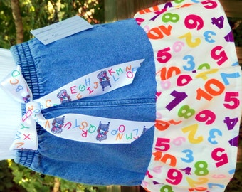 Girls Skirt denim size 5 corduroy numbers ruffle Suzy's Zoo ABC ribbon bow school
