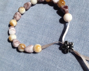 Bead and ribbon adjustable bracelet