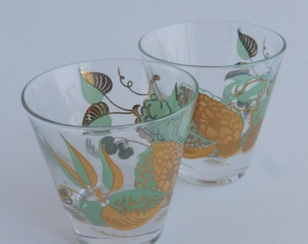 2 Vintage Mid Century William A Meier Double Shot Glasses, Green and Gold Fruit Motif Pattern