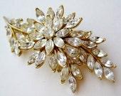 Vintage Trifari Gold Floral Marquis Cut Rhinestone Fancy Brooch Pin