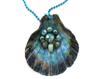blue sea shell necklace, hand painted, vintage earring attached in center, reversible to natural shell, beach wedding, ocean