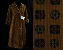Size 14 Brown Corduroy Robe - 1950s Compass Print - Cuffed Sleeves - LoungeCraft - 50s - Early 60s - Fall - Deadstock with Tag - 44924