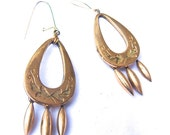 Antique Earring, Victorian Era Pear Shaped hoop with Finial Dangles, Steampunk