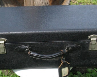 antique black leather suitcase leather handle tag green satin lining vintage luggage pebbled finish