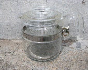 pyrex glass coffee pot glass insert 6 cups pyrex glass percolator mid century kitchen