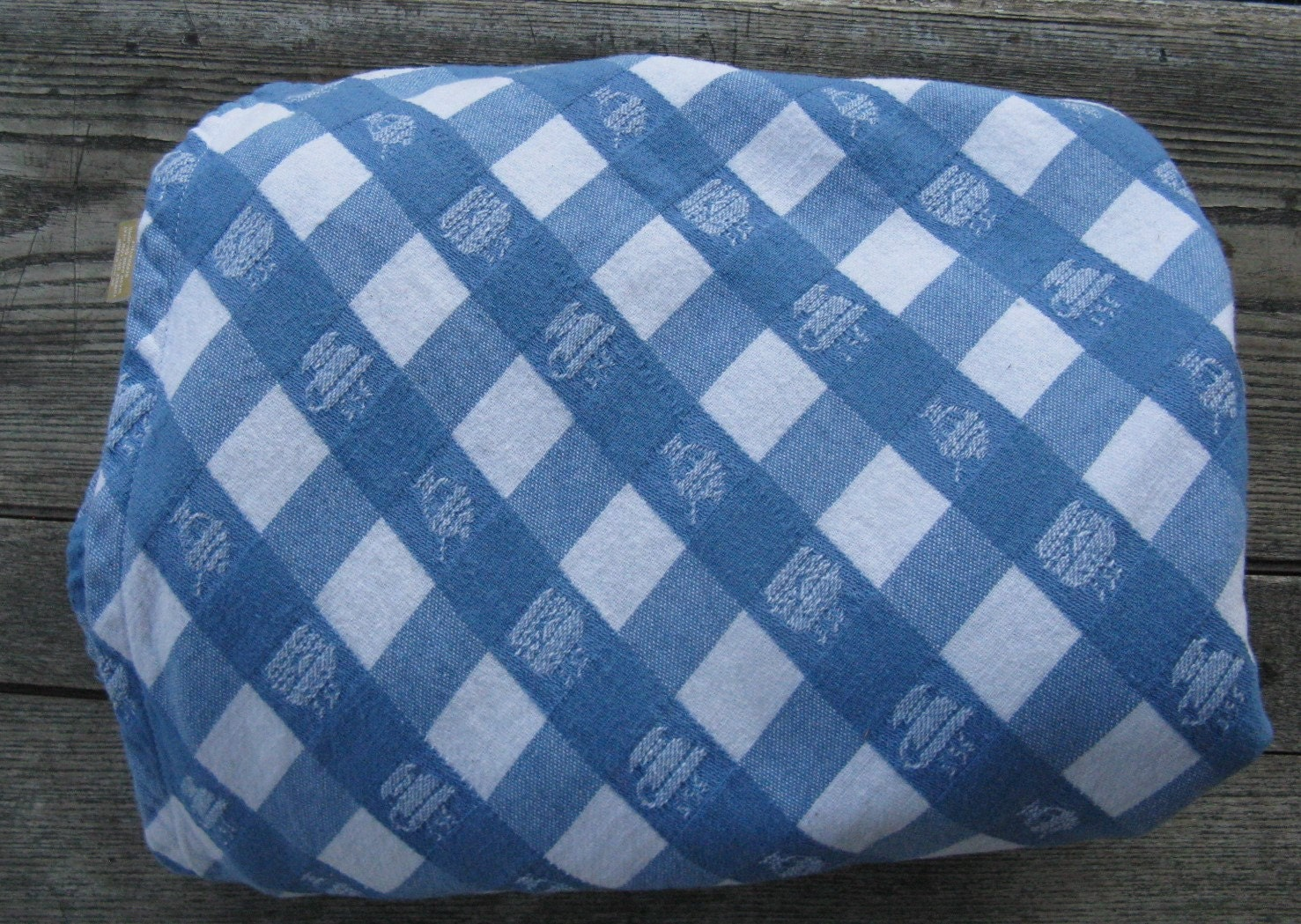 Blue and white check cotton tablecloth 60 inch round diner for White cotton table cloth