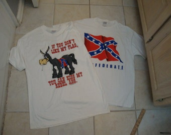 Vintage 90's Rebel Yell Donkey South Lot of 2 T Shirt L
