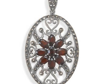 Oval Marcasite and Garnet Pendant, Vintage Style, 925 Sterling Silver