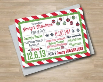Pajama Party Christmas Invitation, Christmas Ornament, Classic Christmas, Slumber Party, Holiday Invitation, Digital or Printed