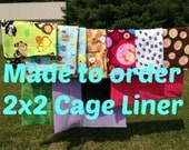 MADE TO ORDER Reversible Cage Liner 2x2 for Guinea Pig Hedgehog Small Animals