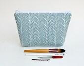Teal Chevron Makeup Bag - Turquoise Pouch - Clutch - Change Purse - Minimalist Bag