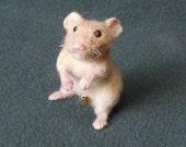 Needle Felted Hamster Shoulder Pet -- Tubby Hamster Guy