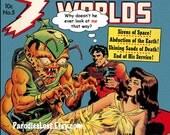 BUG EYED Monster GEEK Comic Book Remix Print Vintage Cheesecake Pulp Sci Fi Art Strange Words 5