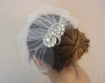 Wedding Tulle Detachable Birdcage Veil and Rhinestone Comb - Ships in 1 Week