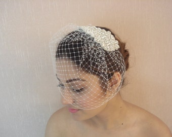 Bridal French / Russian Detachable Birdcage Veil with Rhinestone Applique Comb - Ships in 1 Week