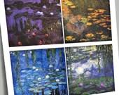 Digital Printable Squares Coaster Size Monet Waterlilies 2 Sheets 8 Designs CLOSEOUT SALE Decoupage Paper DIY Coasters 7