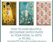 DECOUPAGE TUTORIAL for Making Covered Switch Plates Complete Illustrated Instructions Great DIY Project for Home, Gifts or to Sell
