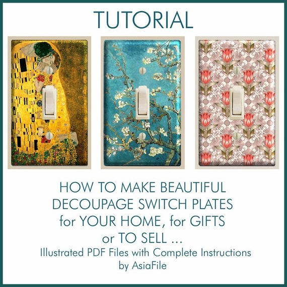 Decoupage tutorial for making covered switch plates for Gifts to sell from home