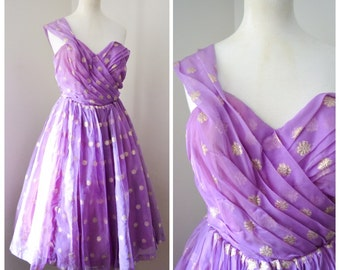 1950s Lilac & gold lamé one shoulder prom dress / 50s organza party dress - S